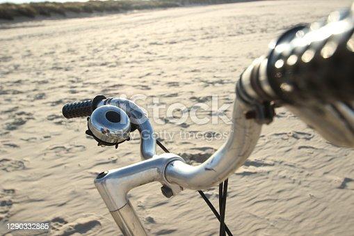 istock Shiny chrome bike handles 1290332865