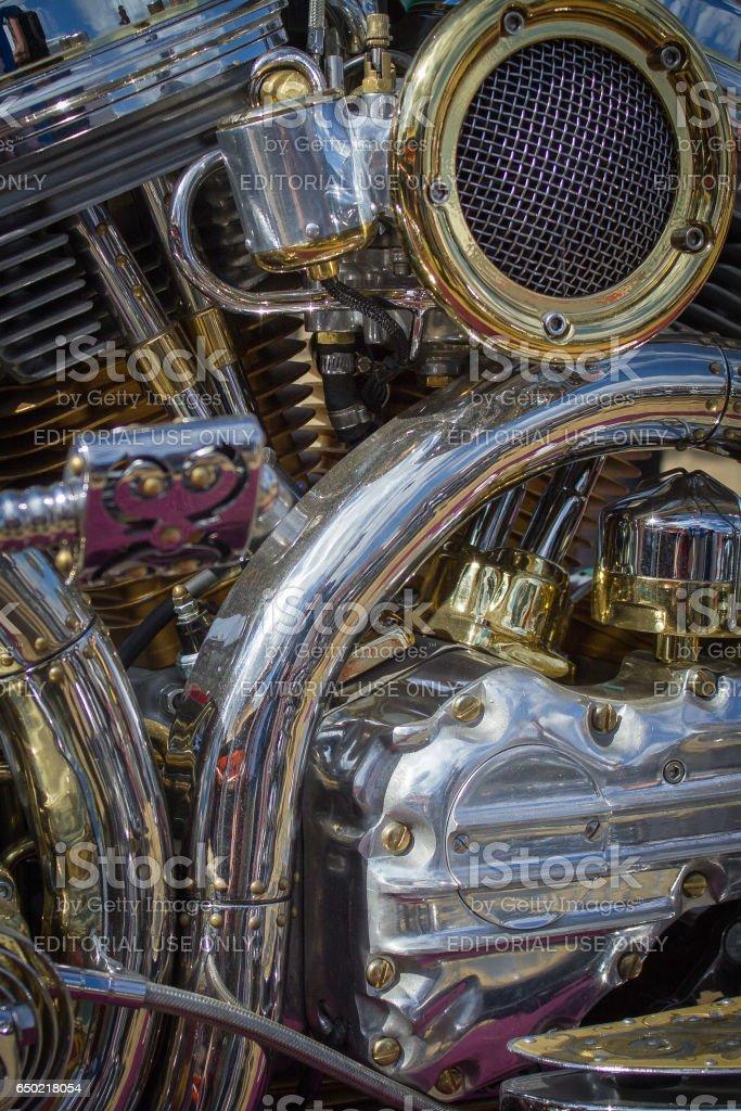 Shiny chrome motorcycle engine stock photo