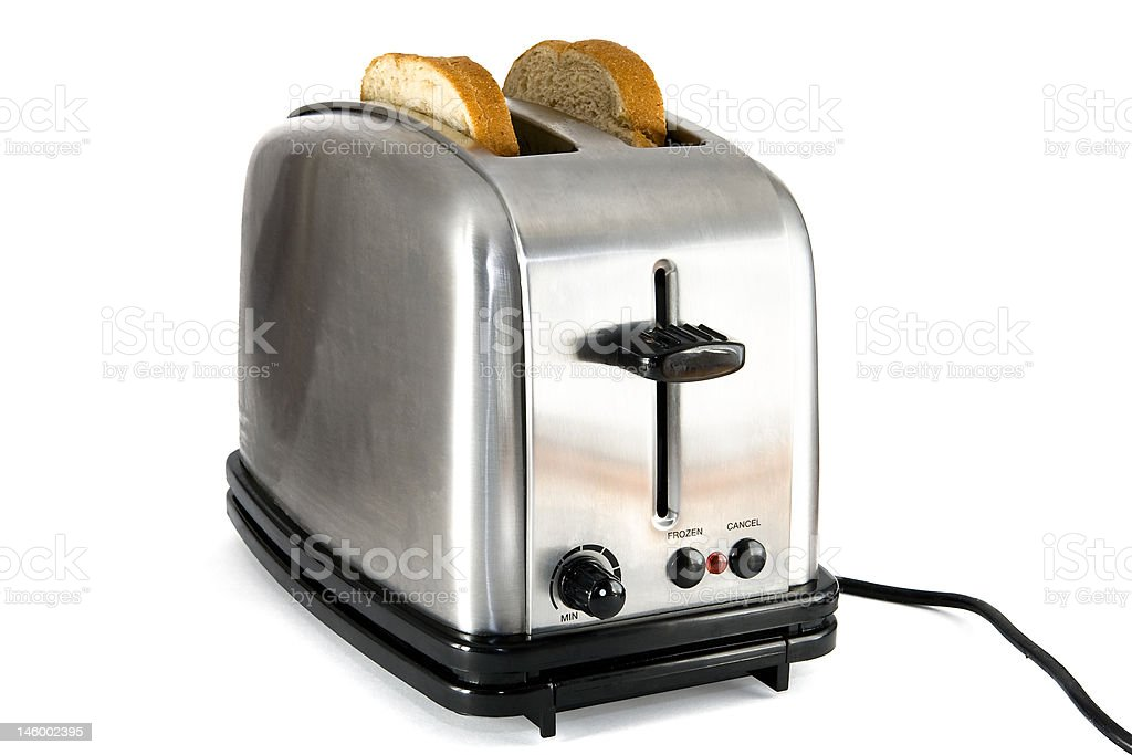 Shiny chrome toaster with two slices of bread stock photo