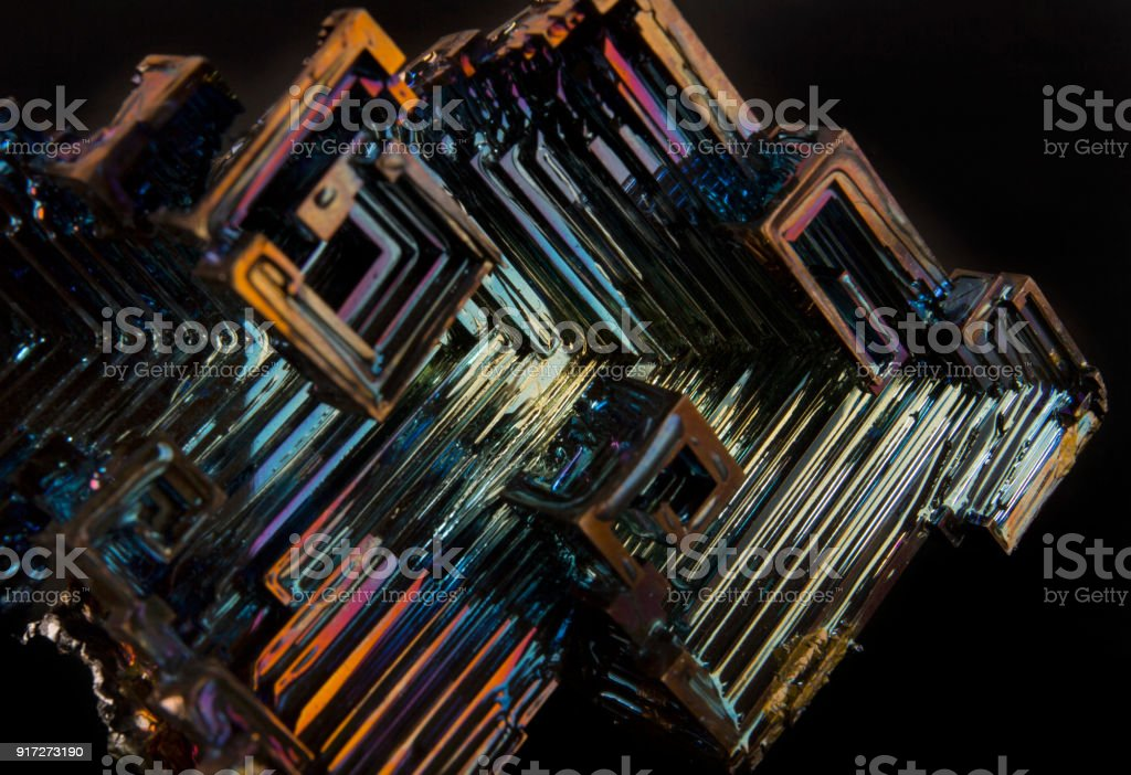 Shiny colorful mineral bismuth on a dark background - Royalty-free Abstract Stock Photo