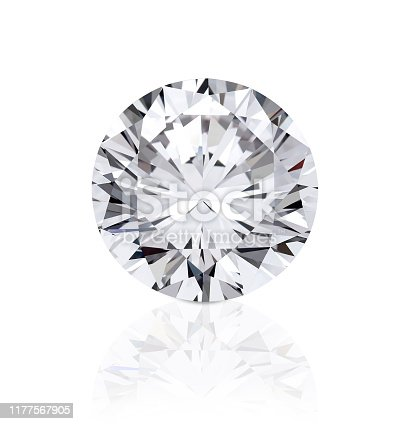 top view of loose brilliant round diamonds on white background