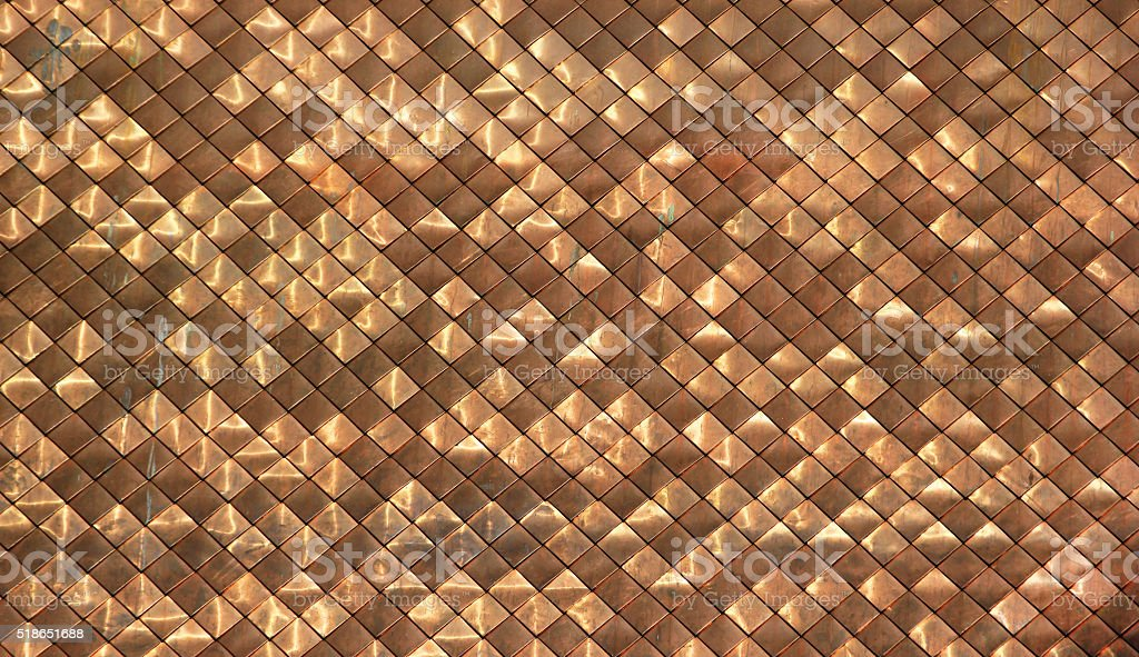 Shiny dirty copper roofing pattern background stock photo