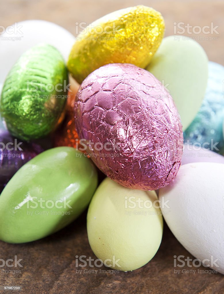 Shiny Easter Eggs royaltyfri bildbanksbilder