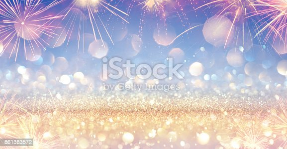 istock Shiny Festive Banner With Firework 861383572