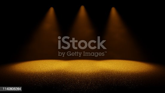 645448998 istock photo shiny glitter background - twinkling golden glitter on a stage lit by three bright spotlights through dusty air lit 1140805264