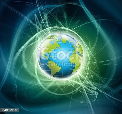 istock 3D shiny globe with blue and green colors emitting light 848079110