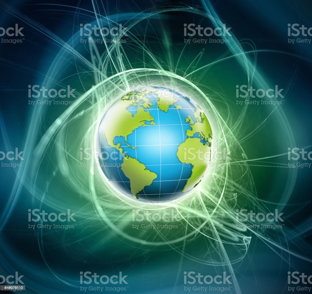 3D shiny globe with blue and green colors emitting light stock photo