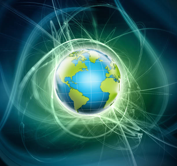 3d shiny globe with blue and green colors emitting light - continent geographic area stock photos and pictures