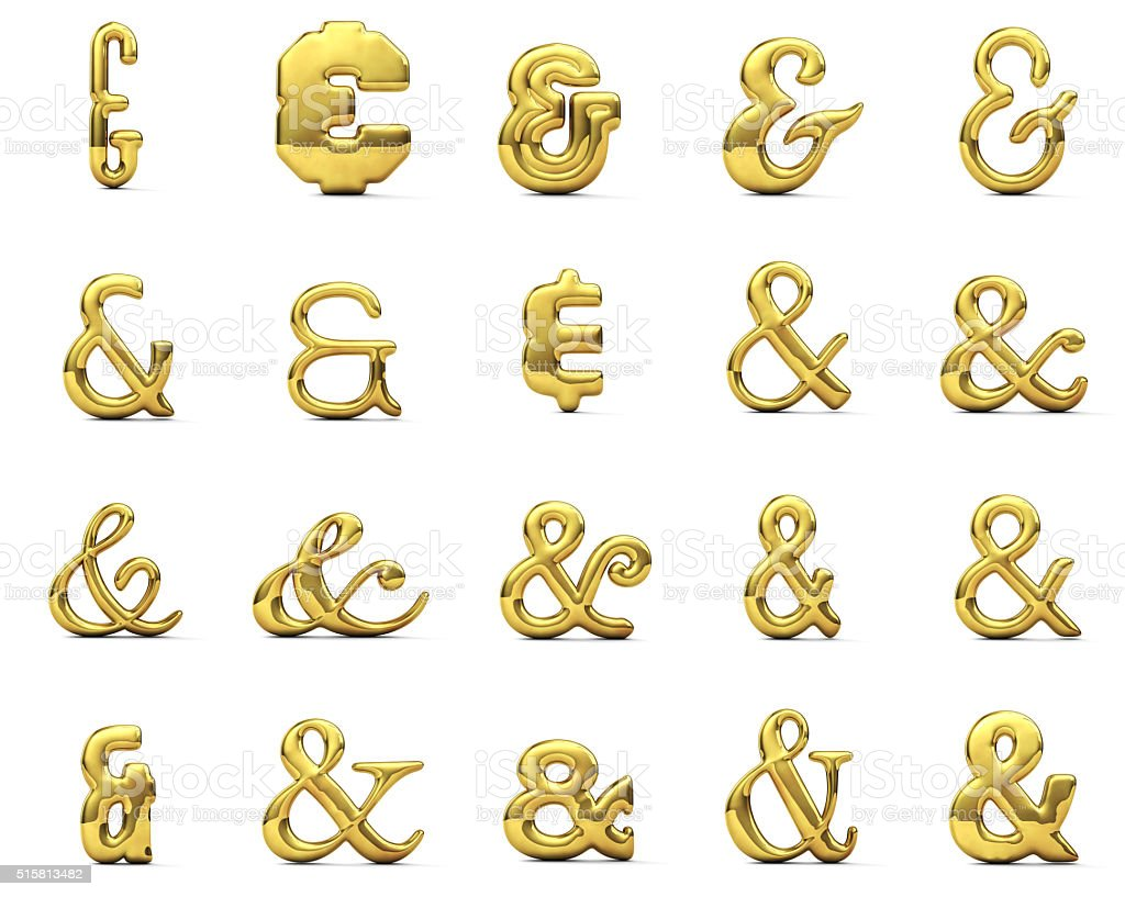Shiny gold ampersand symbol set stock photo