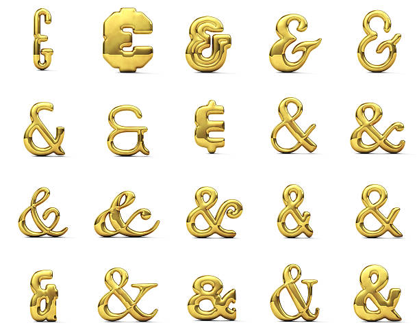 shiny gold ampersand symbol set - ampersand stock pictures, royalty-free photos & images