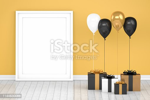 istock Shiny gold and black color balloons with empty frame in empty room. Christmas, Valentine's day, Birthday concept. 1144630088