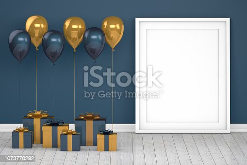 istock Shiny gold and blue color balloons with empty frame in empty room. Christmas, Valentine's day, Birthday concept. 1073770292