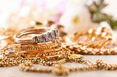 shiny gold and silver jewelery