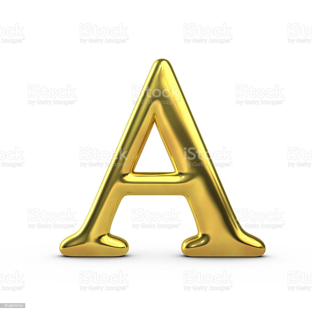 Shiny Gold Capital Letter A Stock Photo & More Pictures of ...