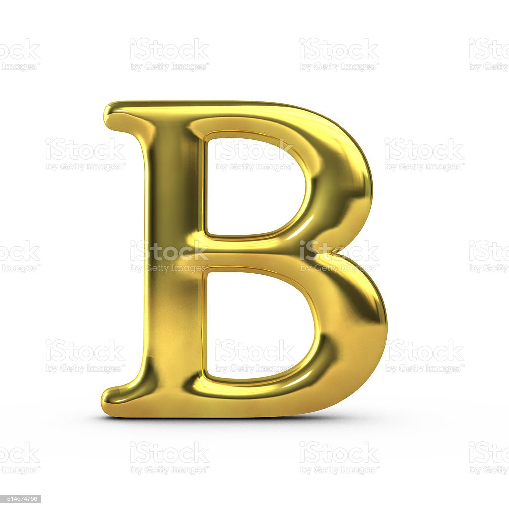 B Letter In Gold Shiny Gold Capital Let...