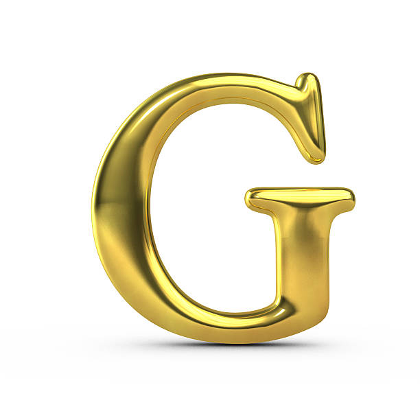 Shiny gold capital letter G stock photo