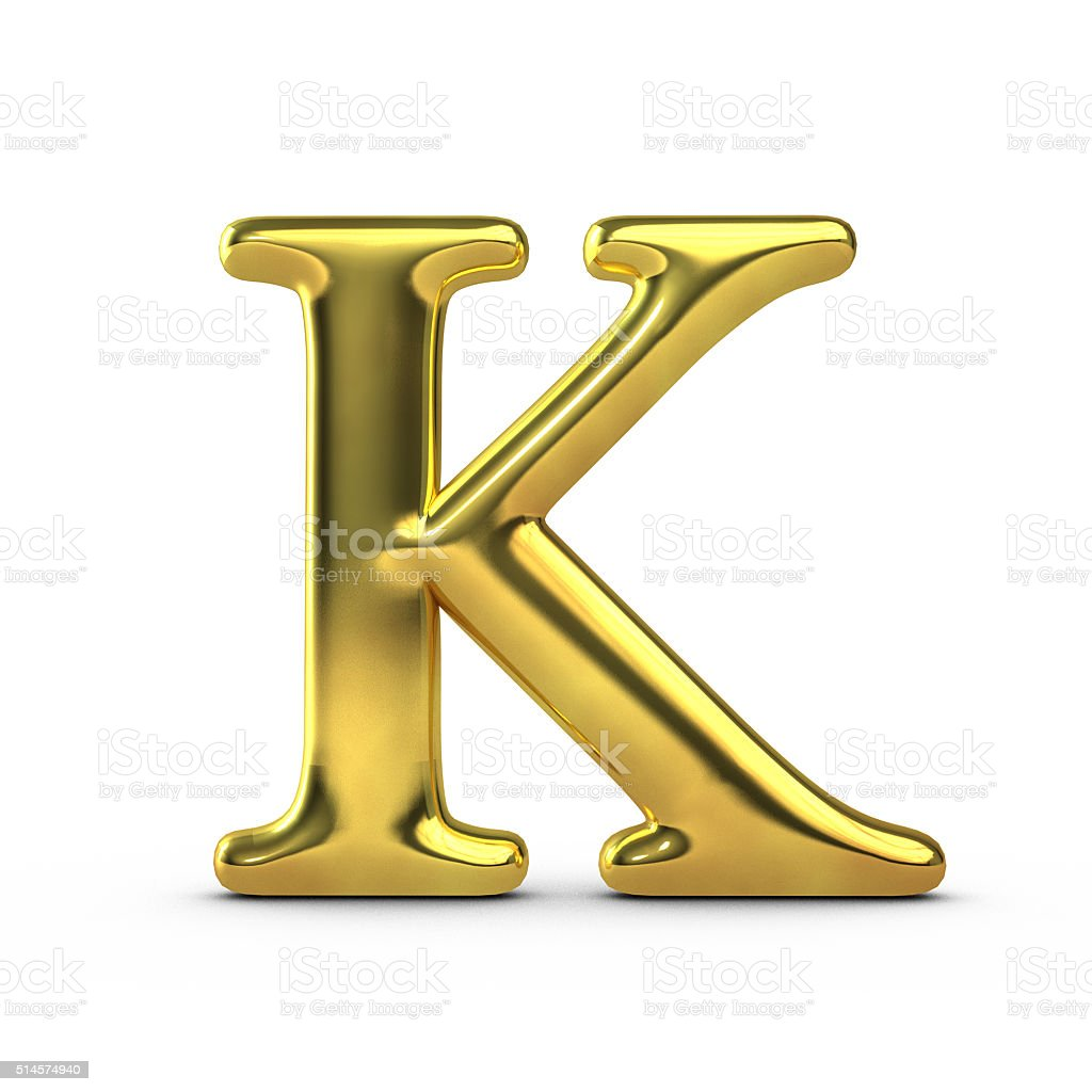 Shiny gold capital letter K stock photo