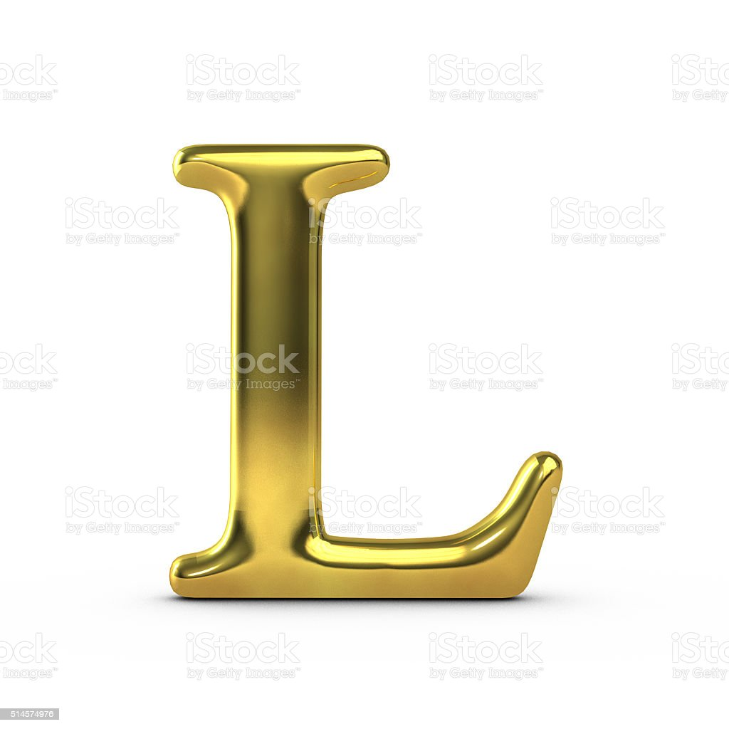 Shiny gold capital letter L stock photo