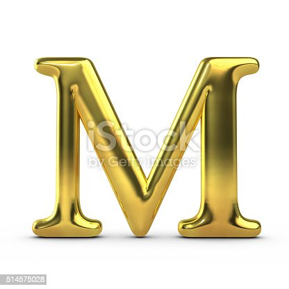 912146278istockphoto Shiny gold capital letter M 514575028