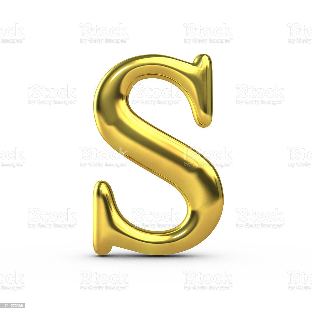 Shiny gold capital letter S stock photo