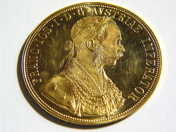 Shiny Gold Ducat Coin stock photo
