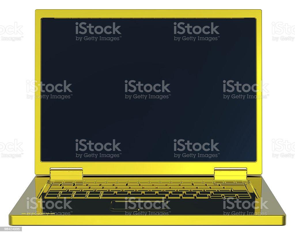 Shiny gold laptop isolated on white. royalty-free stock photo