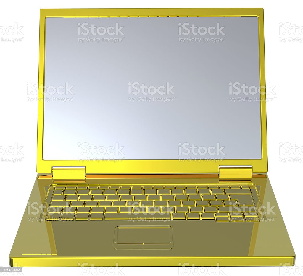Shiny gold laptop isolated on white. royalty-free stock photo