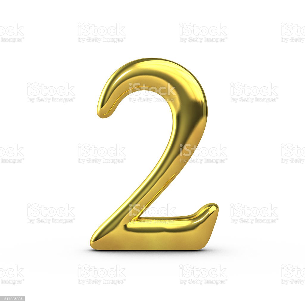 Shiny Gold Number 2 Stock Photo - Download Image Now