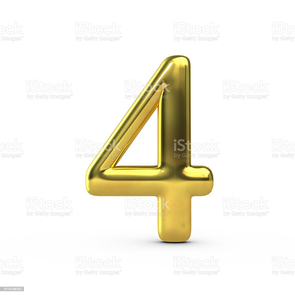 Shiny gold number 4 stock photo