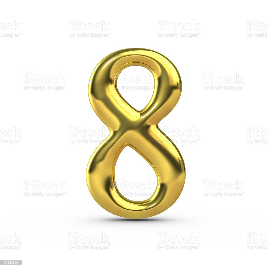 Shiny gold number 8 stock photo