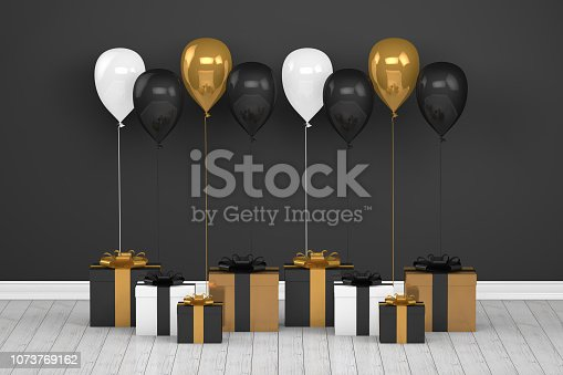 istock Shiny golden and black color balloons in empty room. Christmas, Valentine's day, Birthday concept. 1073769162