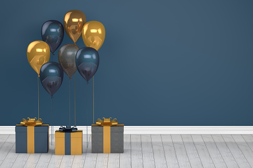 istock Shiny golden and blue color balloons in empty room. Christmas, Valentine's day, Birthday concept. 1073130422