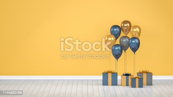 Shiny balloons, empty room,  wall, christmas, greeting card, valentine's day, party, birthday.