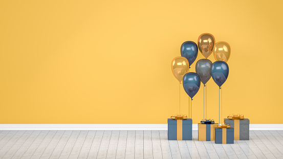 istock Shiny golden and blue color balloons in empty room. Christmas, Valentine's day, Birthday concept. 1144630169