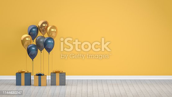 istock Shiny golden and blue color balloons in empty room. Christmas, Valentine's day, Birthday concept. 1144630247