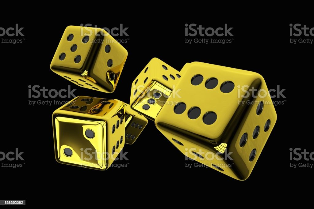 Shiny Golden Casino Dices stock photo