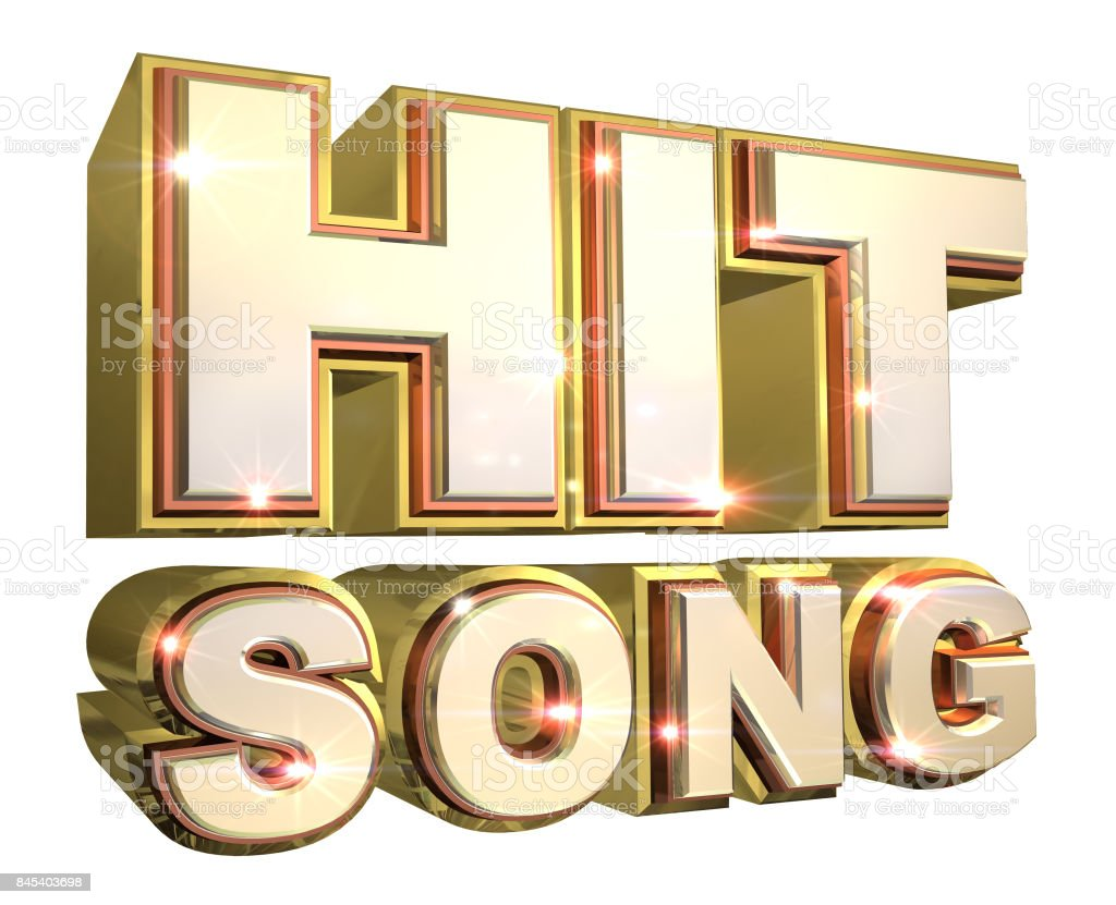 Shiny Golden Hit Song logo - 3d illustration stock photo