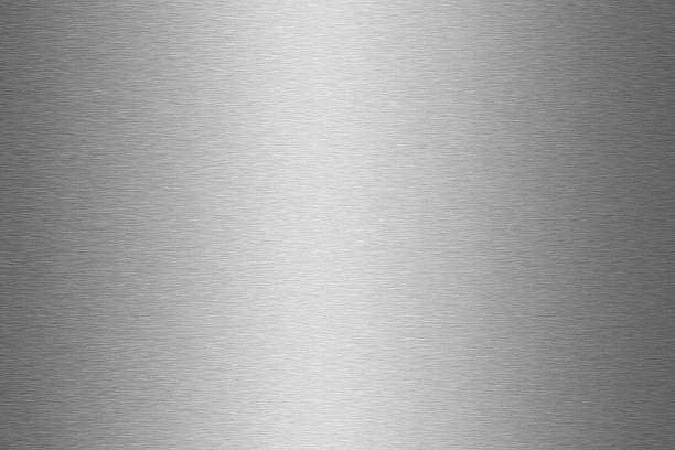 shiny gray metal textured background surface - borstelen stockfoto's en -beelden