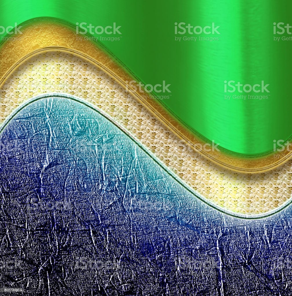 Shiny green color and blue background with curves stock photo