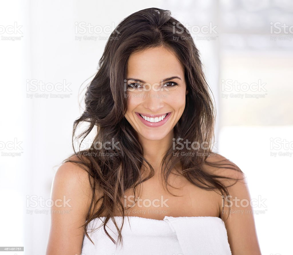 Shiny hair and a raidant smile to go with it stock photo
