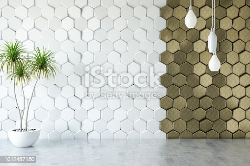 Empty white and golden colored hexagonal wall with lights