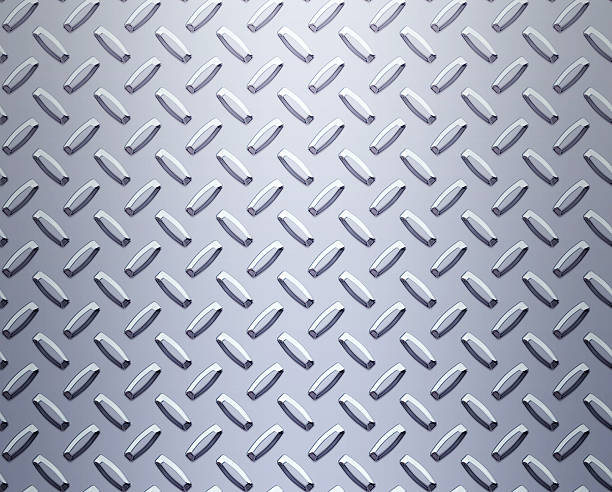 shiny industrial steel metal diamond or tread plate background - diamond plate background stock photos and pictures