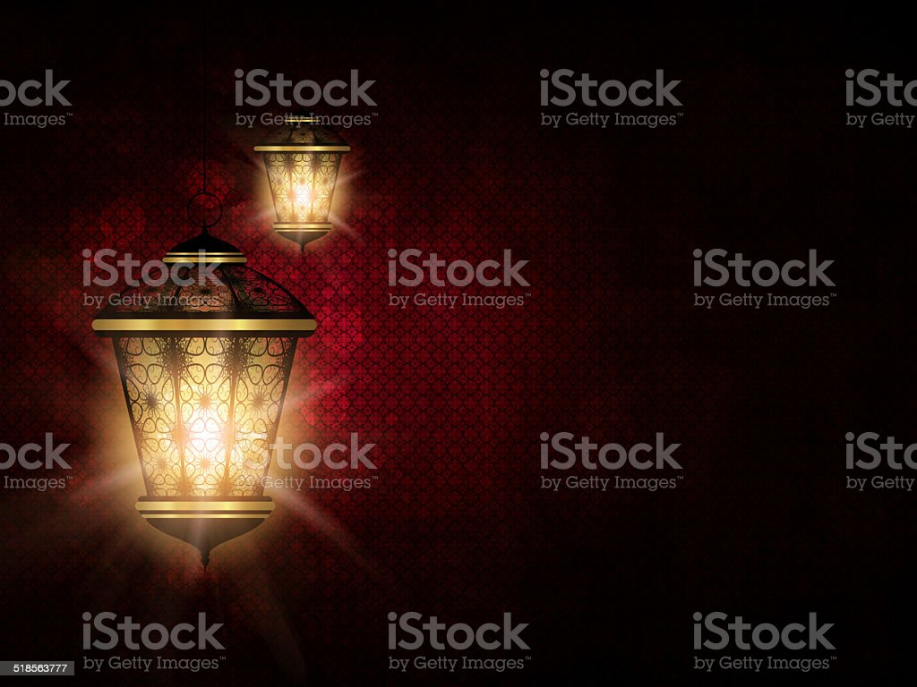 shiny lantern over dark eid al fitr background stock photo
