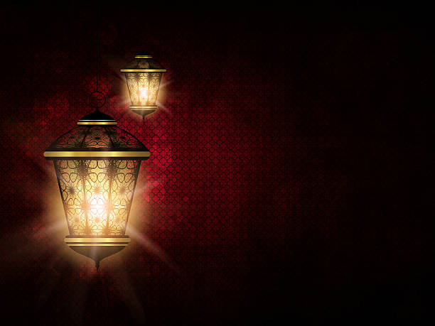 shiny lantern over dark eid al fitr background - eid stock pictures, royalty-free photos & images