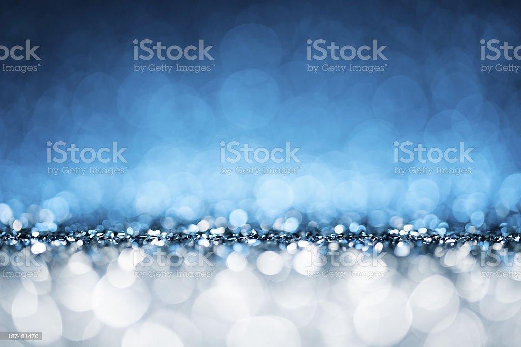 Shiny Lights Bokeh - Blue Christmas Backgrounds Defocused Abstract Celebration stock photo