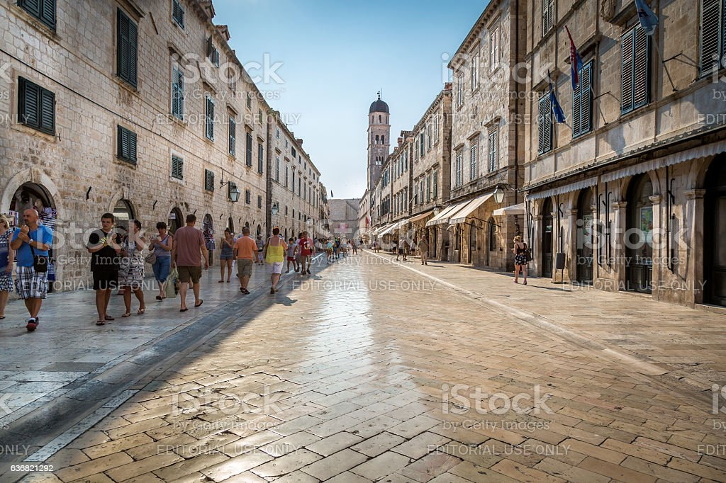 Shiny marble like street in central Dubrovnik. stock photo