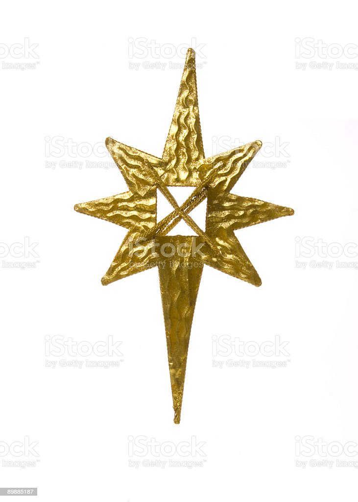Shiny metal Christmas star on white background royalty-free stock photo
