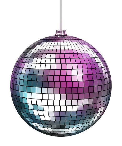 Shiny mirror disco ball isolated on white stock photo