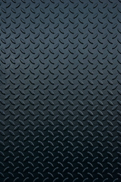 shiny new industrial black steel tread full frame background - diamond plate background stock photos and pictures