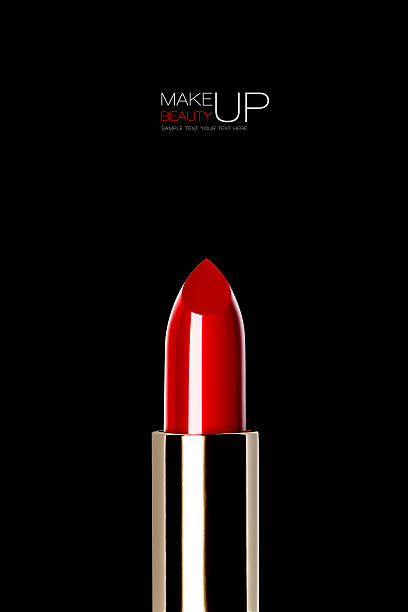 Shiny new red or scarlet lipstick over black – Foto